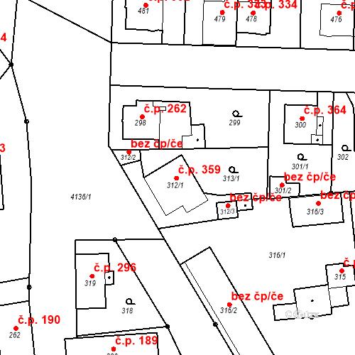 Katastrální mapa Stavební objekt Jakubské Předměstí 359, Jaroměř