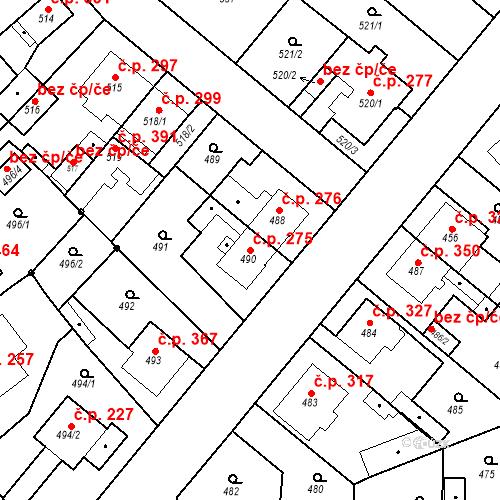 Katastrální mapa Stavební objekt Jakubské Předměstí 275, Jaroměř