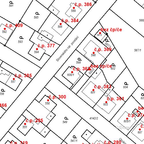 Katastrální mapa Stavební objekt Jakubské Předměstí 362, Jaroměř