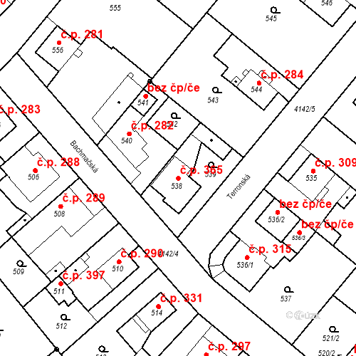 Katastrální mapa Stavební objekt Jakubské Předměstí 365, Jaroměř