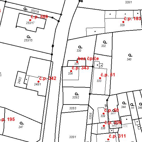 Katastrální mapa Stavební objekt Jakubské Předměstí 343, Jaroměř