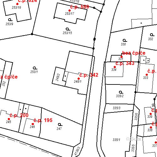 Katastrální mapa Stavební objekt Jakubské Předměstí 342, Jaroměř