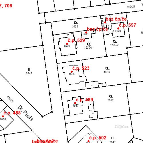 Katastrální mapa Stavební objekt Pražské Předměstí 523, Jaroměř