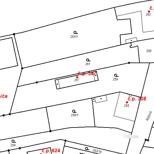 Katastrální mapa Stavební objekt Jakubské Předměstí 347, Jaroměř