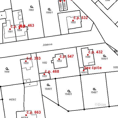 Katastrální mapa Stavební objekt Pražské Předměstí 547, Jaroměř