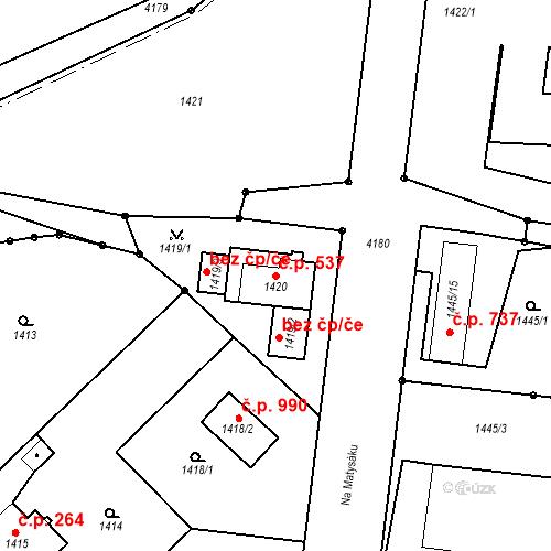 Katastrální mapa Stavební objekt Pražské Předměstí 537, Jaroměř