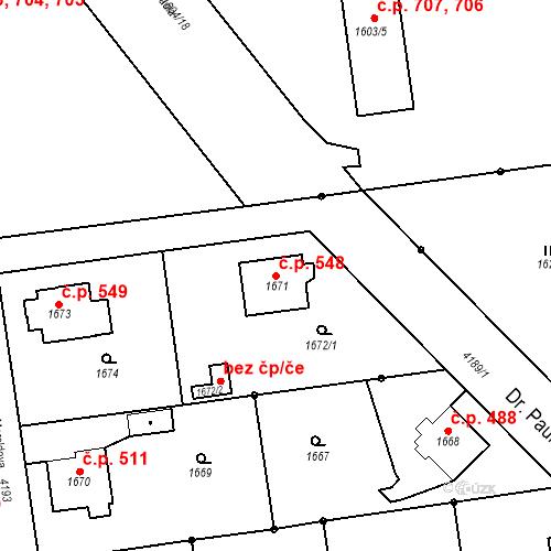 Katastrální mapa Stavební objekt Pražské Předměstí 548, Jaroměř