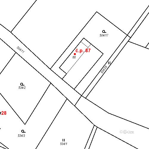 Katastrální mapa Stavební objekt Vysoké Chvojno 87, Vysoké Chvojno