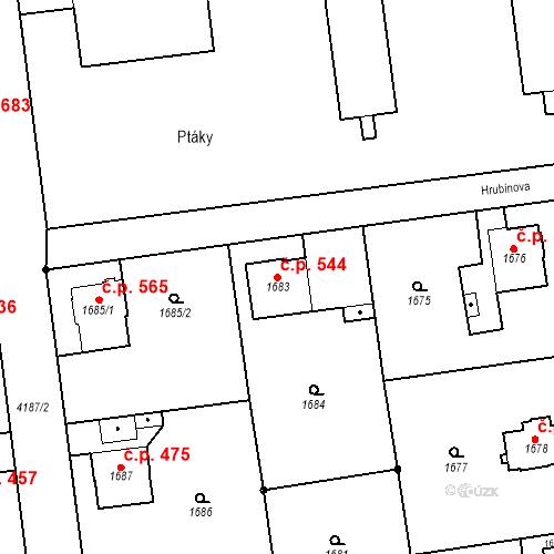 Katastrální mapa Stavební objekt Pražské Předměstí 544, Jaroměř