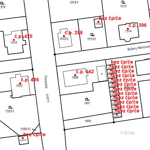 Katastrální mapa Stavební objekt Pražské Předměstí 542, Jaroměř