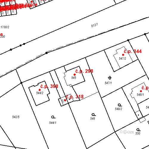 Katastrální mapa Stavební objekt Josefov 298, Jaroměř