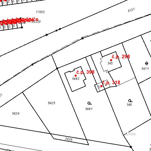 Katastrální mapa Stavební objekt Josefov 398, Jaroměř