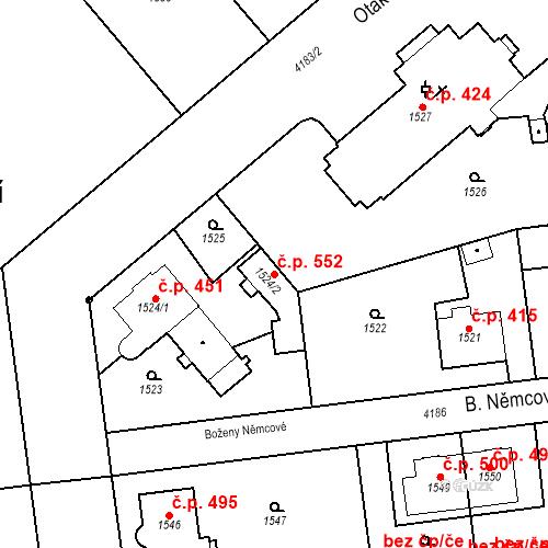 Katastrální mapa Stavební objekt Pražské Předměstí 552, Jaroměř