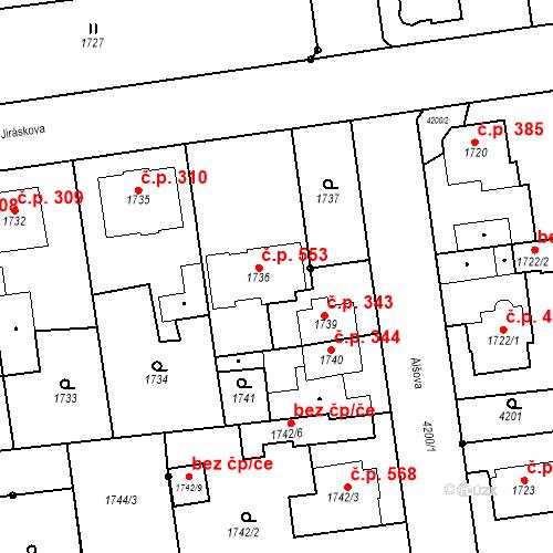 Katastrální mapa Stavební objekt Pražské Předměstí 553, Jaroměř
