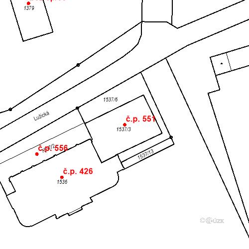 Katastrální mapa Stavební objekt Pražské Předměstí 551, Jaroměř