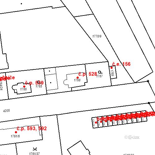 Katastrální mapa Stavební objekt Pražské Předměstí 528, Jaroměř