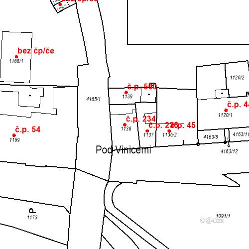 Katastrální mapa Stavební objekt Pražské Předměstí 234, Jaroměř