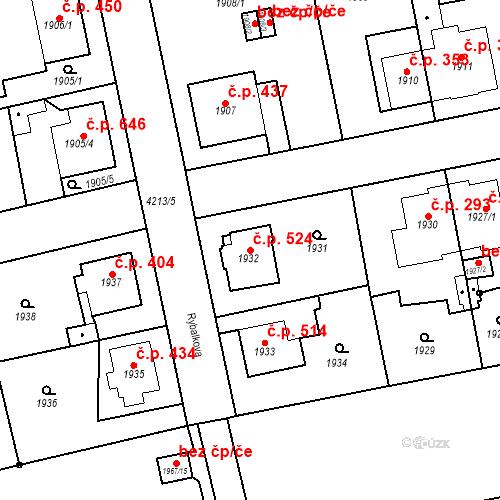 Katastrální mapa Stavební objekt Pražské Předměstí 524, Jaroměř