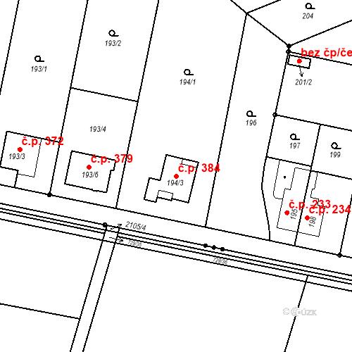 Katastrální mapa Stavební objekt Josefov 384, Jaroměř