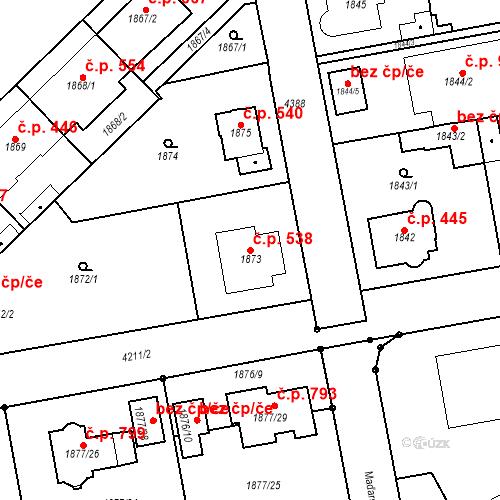 Katastrální mapa Stavební objekt Pražské Předměstí 538, Jaroměř