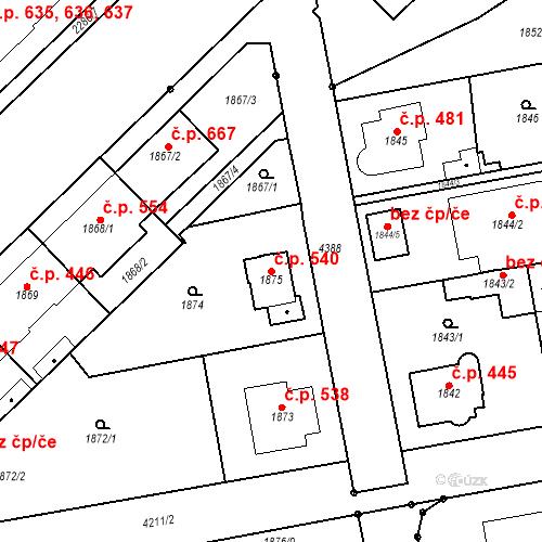 Katastrální mapa Stavební objekt Pražské Předměstí 540, Jaroměř