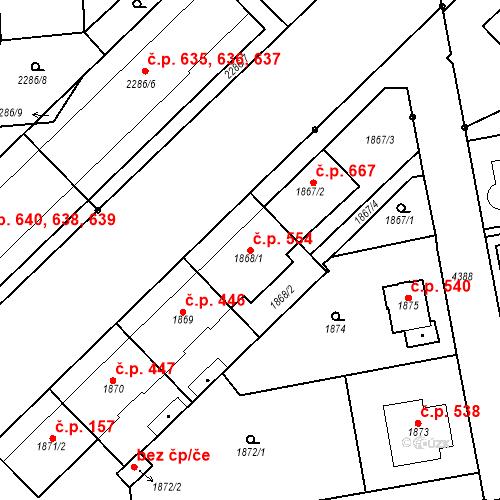 Katastrální mapa Stavební objekt Pražské Předměstí 554, Jaroměř