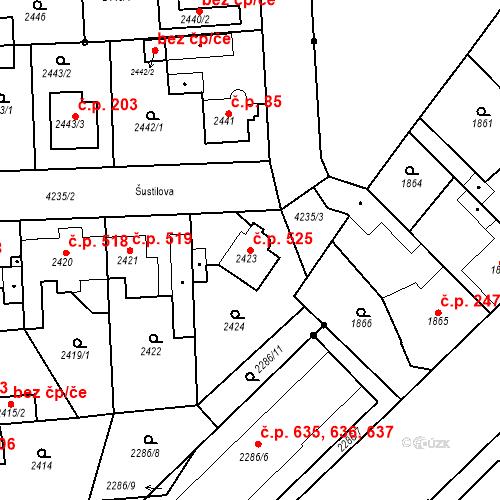 Katastrální mapa Stavební objekt Pražské Předměstí 525, Jaroměř