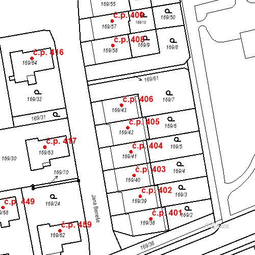 Katastrální mapa Stavební objekt Josefov 405, Jaroměř