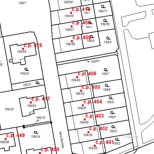 Katastrální mapa Stavební objekt Josefov 406, Jaroměř
