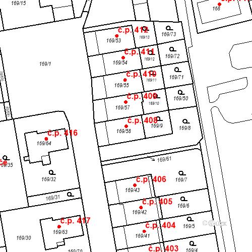 Katastrální mapa Stavební objekt Josefov 408, Jaroměř