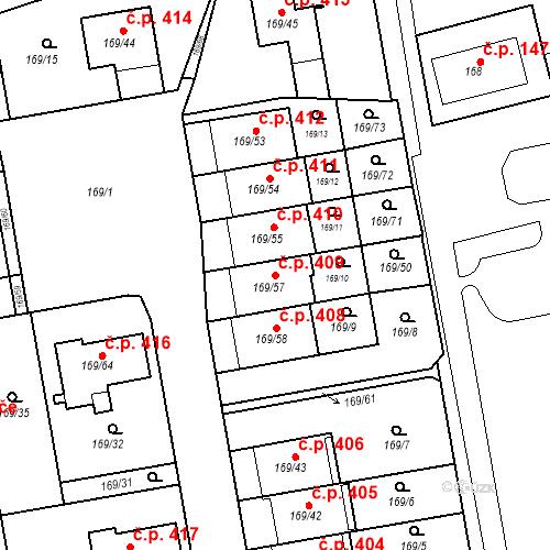Katastrální mapa Stavební objekt Josefov 409, Jaroměř