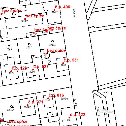 Katastrální mapa Stavební objekt Pražské Předměstí 531, Jaroměř