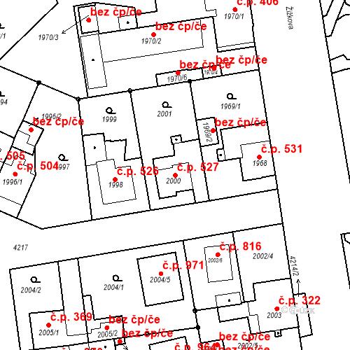 Katastrální mapa Stavební objekt Pražské Předměstí 527, Jaroměř