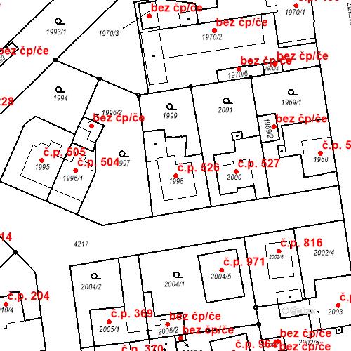 Katastrální mapa Stavební objekt Pražské Předměstí 526, Jaroměř