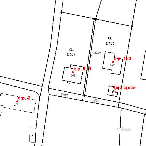 Katastrální mapa Stavební objekt Smržov 119, Smržov