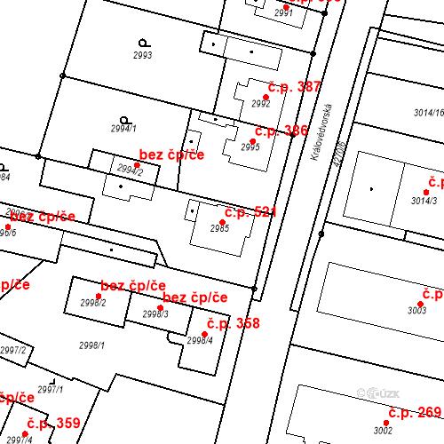 Katastrální mapa Stavební objekt Pražské Předměstí 521, Jaroměř