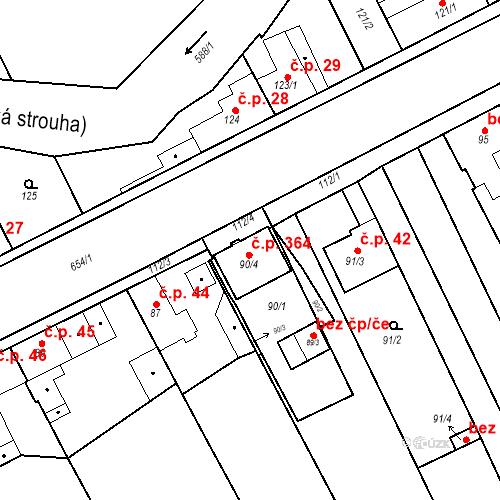 Katastrální mapa Stavební objekt Strachotice 364, Strachotice