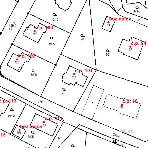 Katastrální mapa Stavební objekt Divec 101, Divec