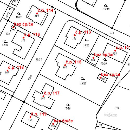 Katastrální mapa Stavební objekt Divec 115, Divec