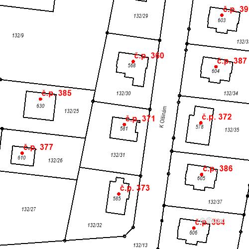 Katastrální mapa Stavební objekt Moravany 371, Moravany