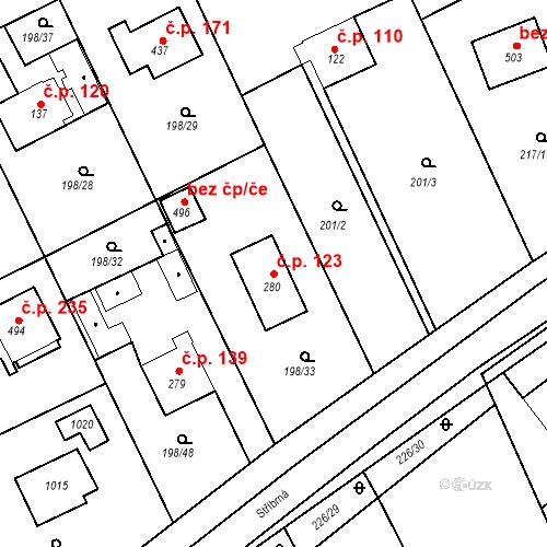 Katastrální mapa Stavební objekt Svinary 123, Hradec Králové