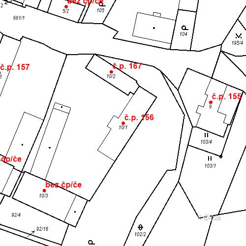 Katastrální mapa Stavební objekt Černožice 156, Černožice