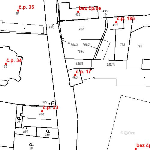 Katastrální mapa Stavební objekt Černožice 17, Černožice