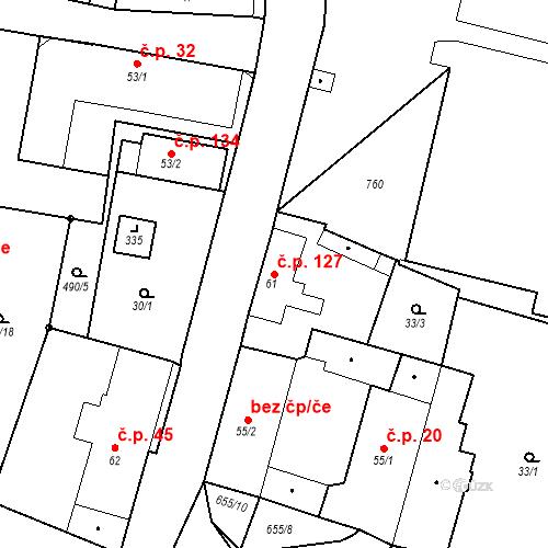 Katastrální mapa Stavební objekt Černožice 127, Černožice