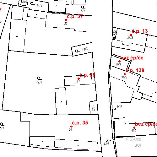 Katastrální mapa Stavební objekt Černožice 36, Černožice