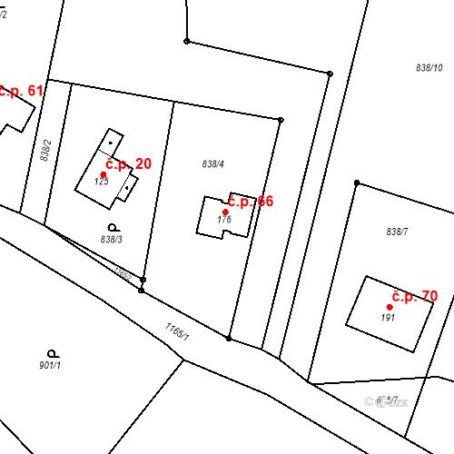Katastrální mapa Stavební objekt Leštinka 66, Leštinka