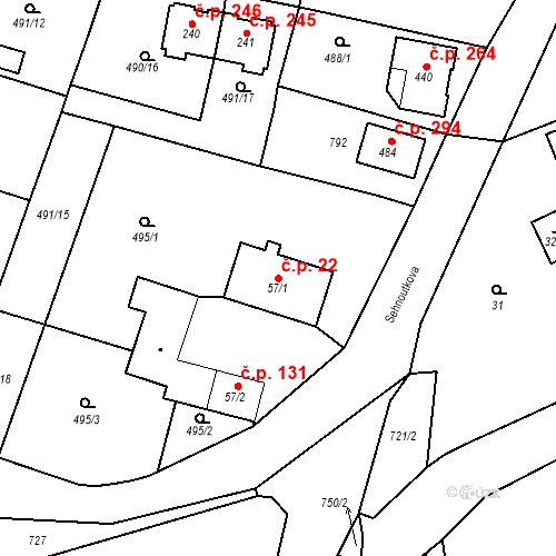 Katastrální mapa Stavební objekt Černožice 22, Černožice