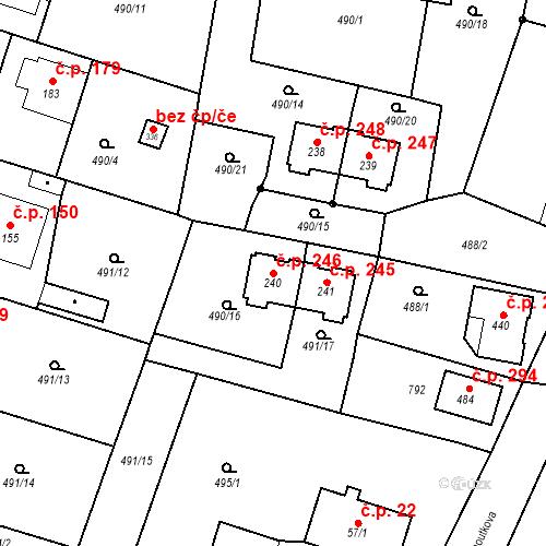 Katastrální mapa Stavební objekt Černožice 246, Černožice