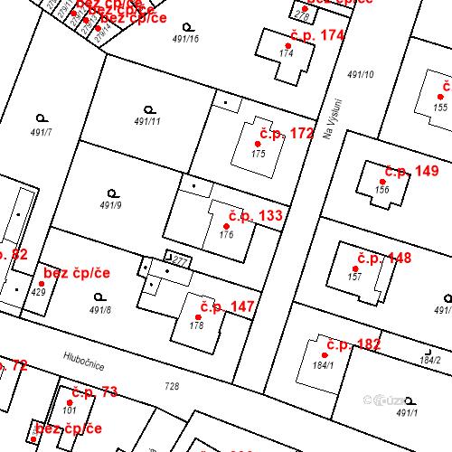 Katastrální mapa Stavební objekt Černožice 133, Černožice
