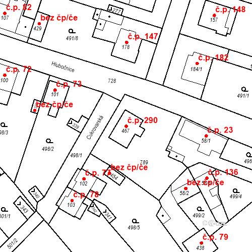 Katastrální mapa Stavební objekt Černožice 290, Černožice